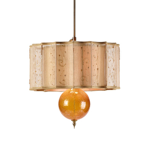 Kinzig Design Tyler Pendant Gold, Amber, Blown Glass, Silk Shade, Artistic Artisan Designer Pendant Lamps