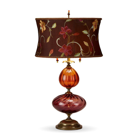 Violeta Table Lamp, Kinzig Design, Purple, Salmon, Fuchsia, Brown, Blown Glass, Silk Shade, Artistic Artisan Designer Table Lamps