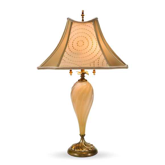 Virginia Table Lamp, Kinzig Design, Creamy Glass, Beige, Cream, Blown Glass, Silk Shade, Artistic Artisan Designer Table Lamps