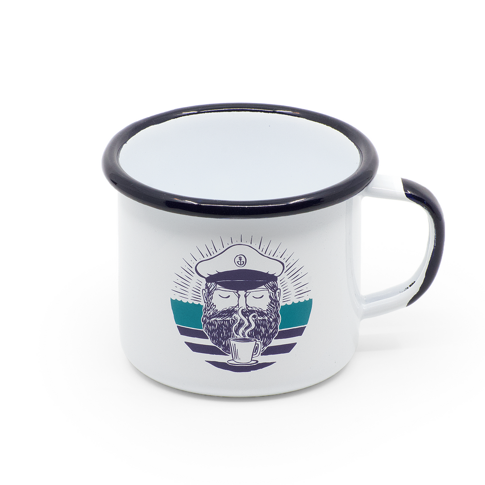 "Enamel cup ""Captain Clean Coffee"""