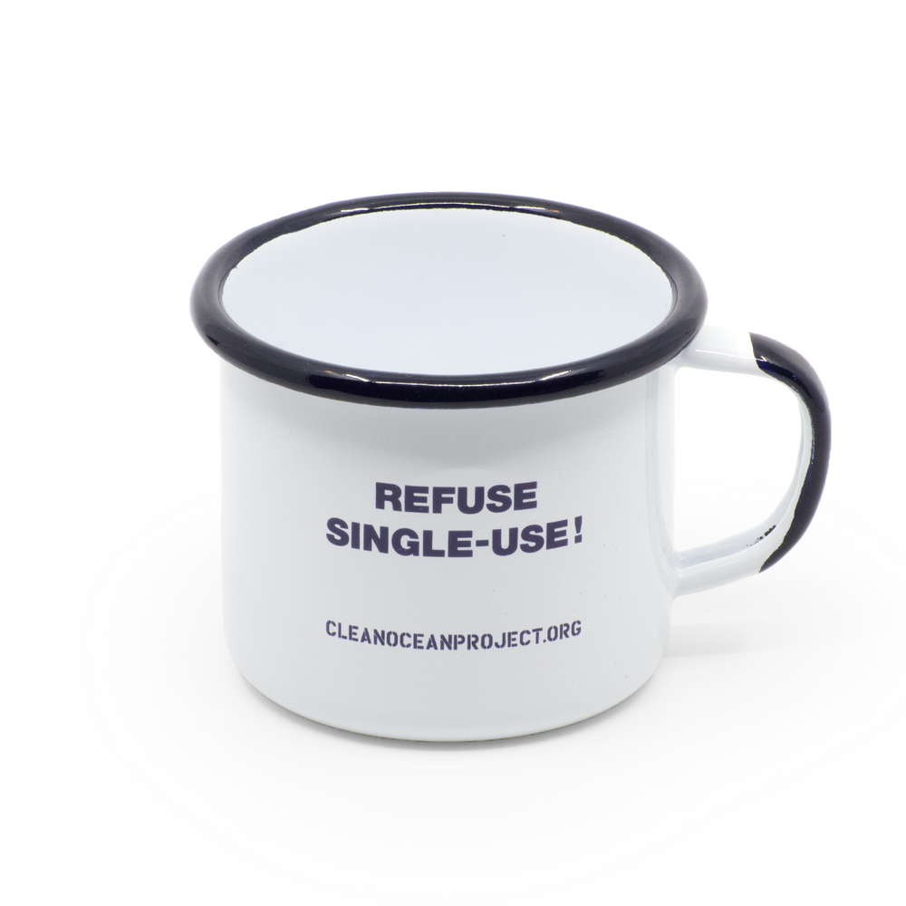 "Emaillebecher ""Refuse single-use!"""