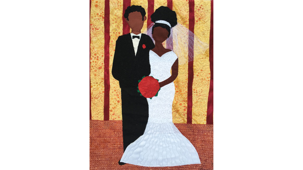 Art quilt with African-American bride and groom