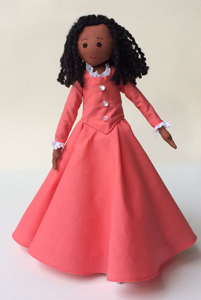 Angelica Schuyler doll, medium brown doll in coral dress with lace trim