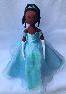 Dark brown African-American Cinderella doll in sky-blue ball gown with beaded crown
