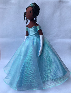 Dark brown Cinderella doll in sky-blue ball gown with beaded crown, side view