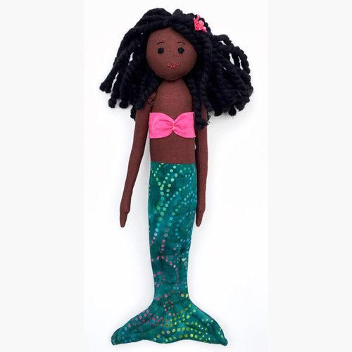 Dark brown African-American mermaid doll with green tail