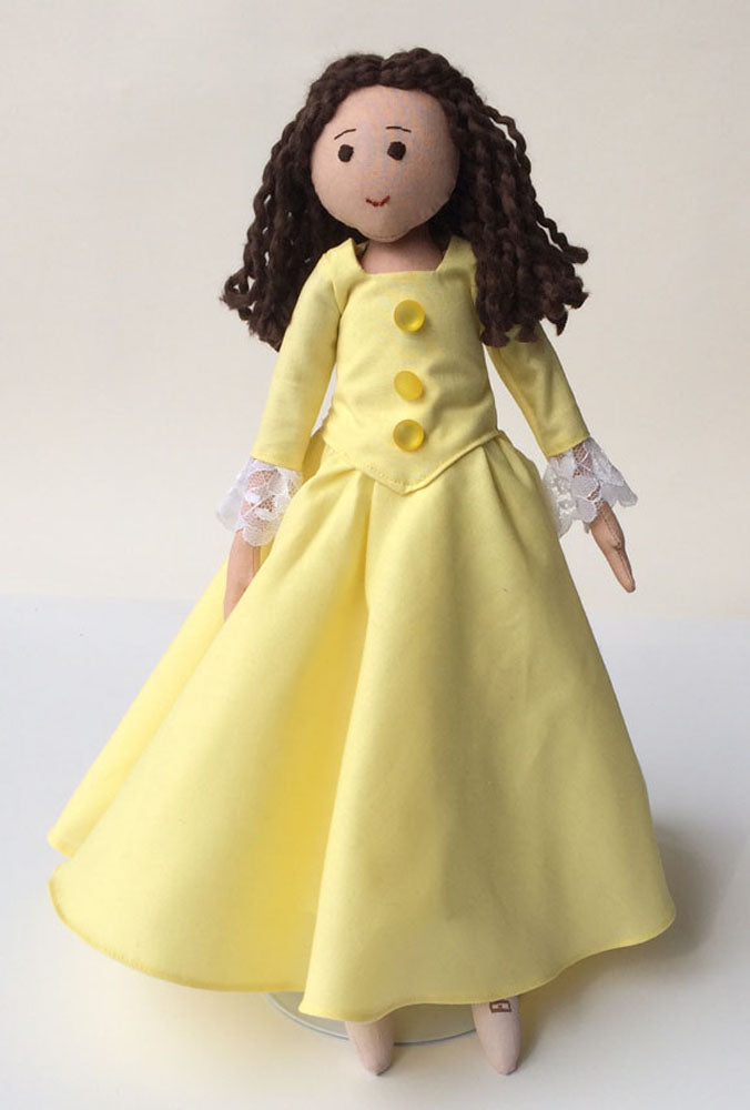 Peggy Schuyler doll, light brown doll in yellow gown