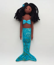 Load image into Gallery viewer, Medium brown African-American mermaid doll with blue tail