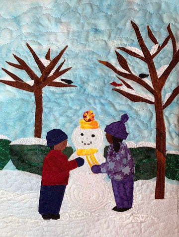 African-American children build a snowman, Black children build snowman