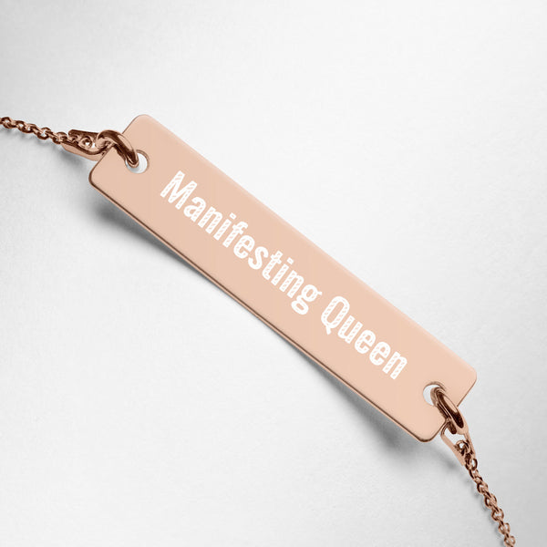 """Manifesting Queen"" Engraved Silver Bar Chain Bracelet"