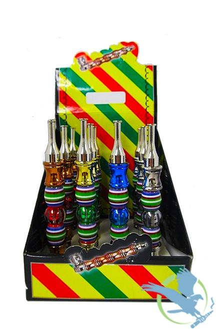 Portable Metal Pipe - Assorted Colored Stripe Designs – Single - palaya vapes