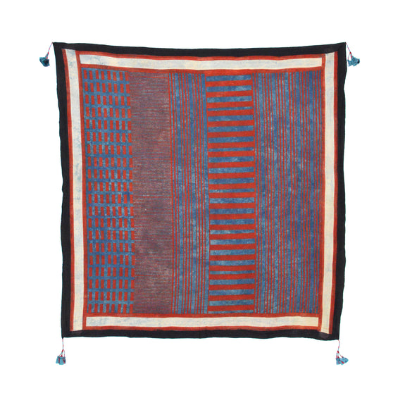 Ajrak Crosswalk - Indigo/Red
