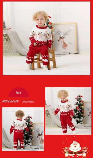Christmas Rompers For  Autumn Newborn Jumpsuits Reindeer Knitted Toddler Overalls