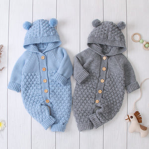 New Born Baby Clothes Cartoon Bear Knitted Rompers Spring Autumn Winter Long Sleeve Toldder Jumpsuit 18M
