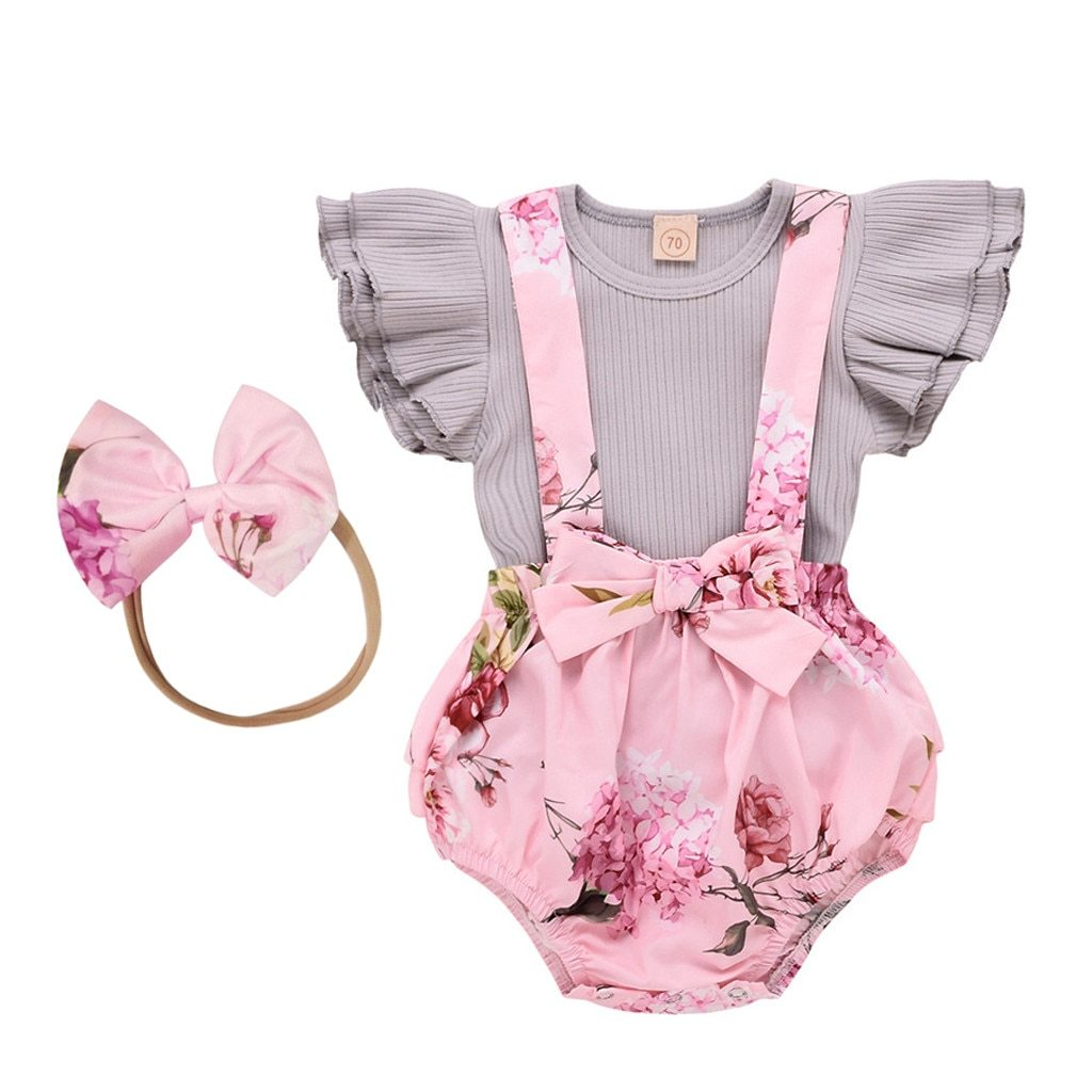 Fashion Baby Girl Clothes Toddler Infant Sleeveless Ruffle Tops Overall Floral Short Clothes Set - Monanna