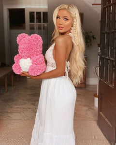 Pink Love Heart Rose Bear Limited Edition