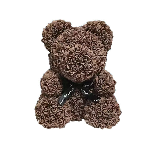 Chocolate Brown Rose Bear