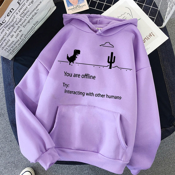 Cartoon Dinosaur Letter Print Hoodies Women Hooded Oversize Pullovers Harajuku Warm Kawaii Female Loose Streetwear Sweatshirts