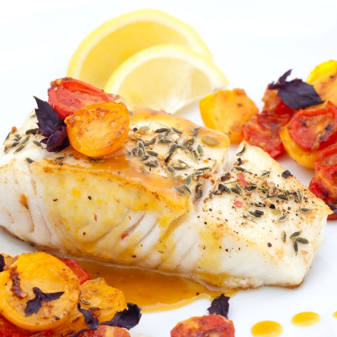 Buy Seafood: Example of pictured steamed halibut dish| BC Live Spot Prawns & Seafood