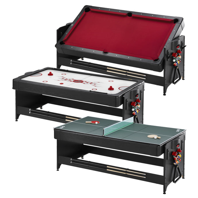 Fat Cat Original 3-in-1 7' Pockey Multi-Game Table (Red)