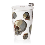 Load image into Gallery viewer, Double-wall Porcelain Mug with Infuser - Skulls