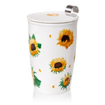 Load image into Gallery viewer, Double-wall Porcelain Mug with Infuser - Sunflowers