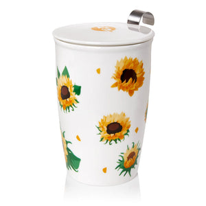 Double-wall Porcelain Mug with Infuser - Sunflowers