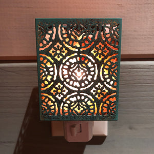 Shadow Lantern Night Light - Patina (Square)
