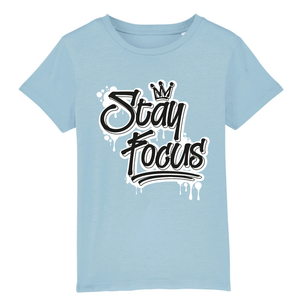 STAY FOCUS  - COTON BIO - BLACK & WHITE KID
