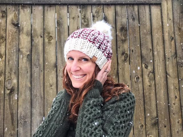 Lux Red and Cream Merino Wool Hat, Faux Fur Pom