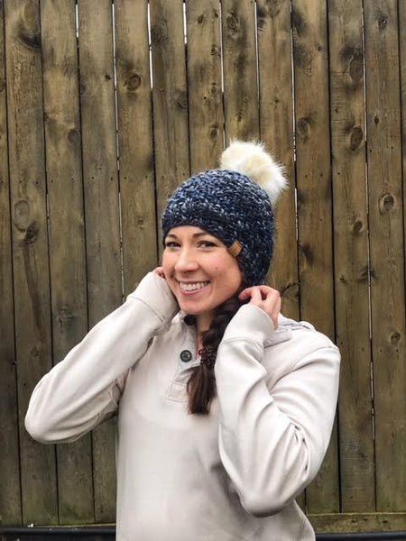 Lux merino wool hat with faux fur pom