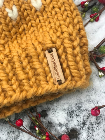 Yellow and Cream Snowfall Beanie