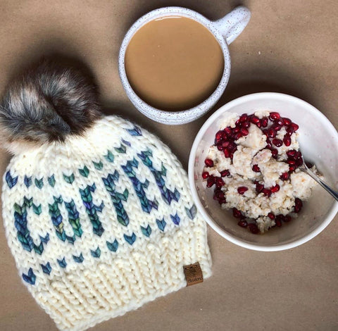 Lux 100% wool hat with faux fur pom, by Cali and Cleveland
