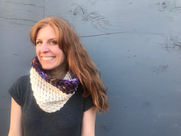 Lux Color Block Cowl, 100% merino wool hand dyed wool by Cali & Cleveland