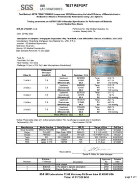 ASTM F2100 Sub-Micron Particle Filtration Test Report