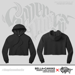 Women's 'Seven One Six' Drop Shoulder Cropped Hoodies