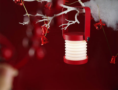 Wooden handle touch controlled foldable LED lantern lamp in red color