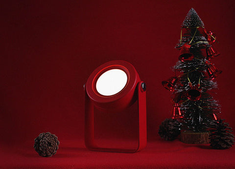 Wooden Handle foldable modern lantern lamp touch controlled LED night light in red color
