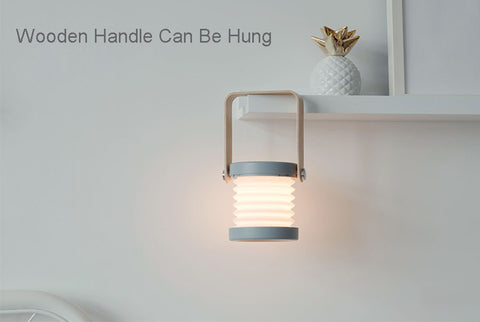 Wooden Handle foldable lantern lamp touch controlled LED desk light can be hung