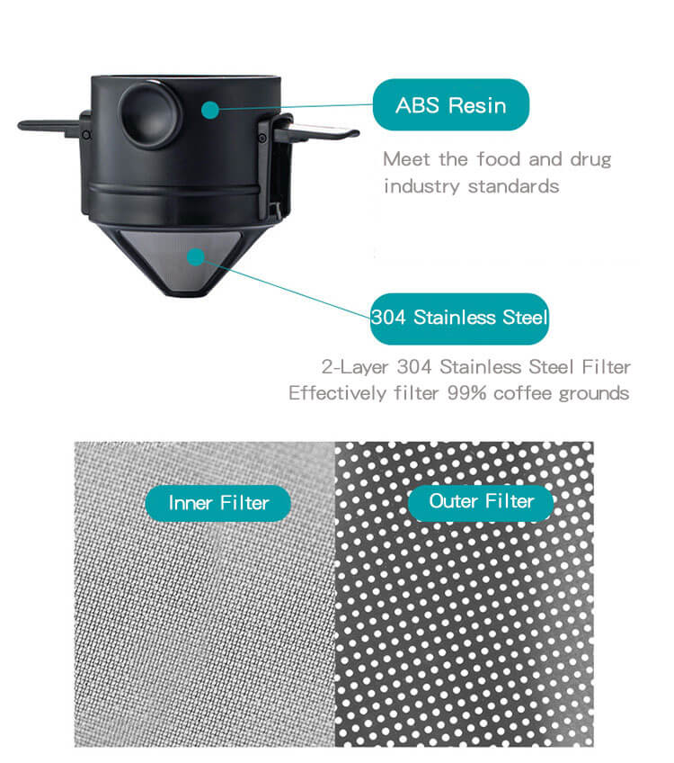 reusable and foldable coffee filter with 2 layer 304 stainless steel filter design