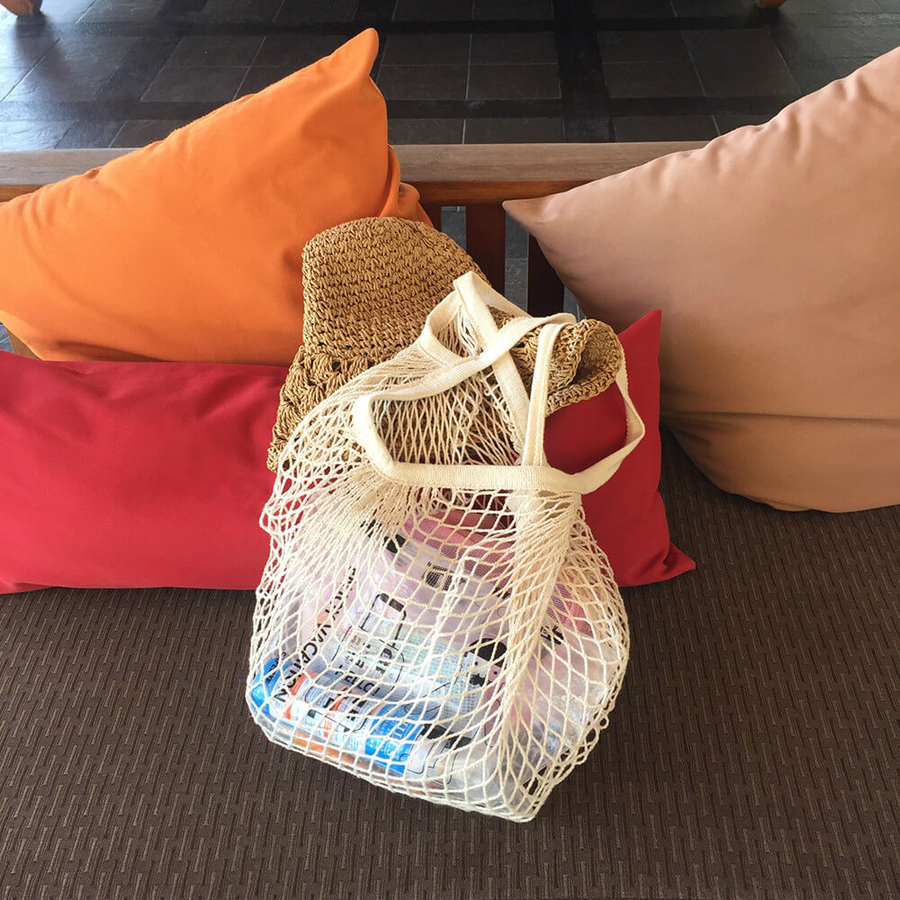 Cotton net bag in real shot