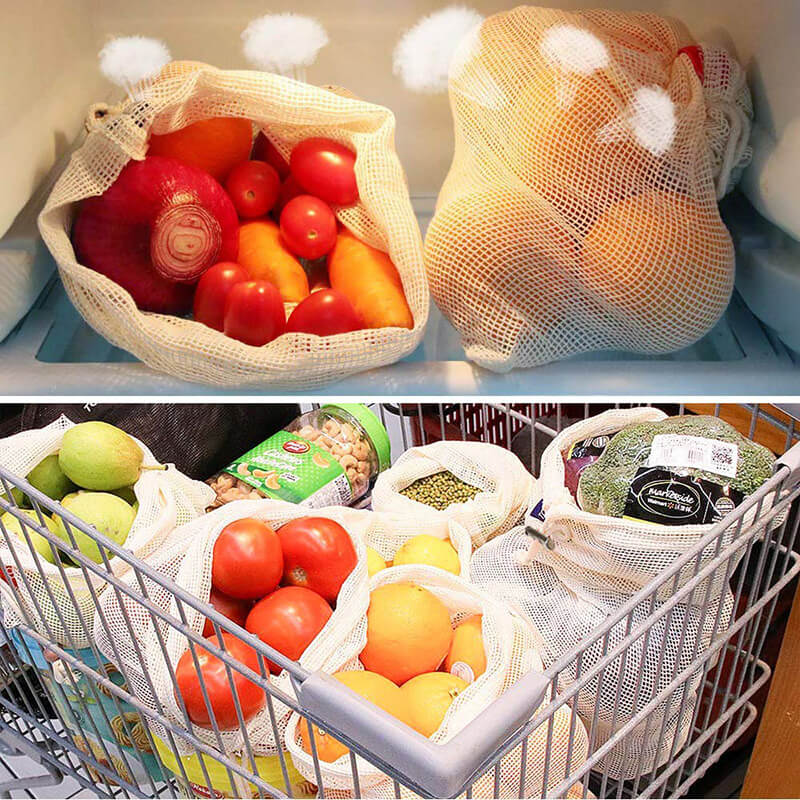 Reusable cotton mesh bags for storing vegs and fruits