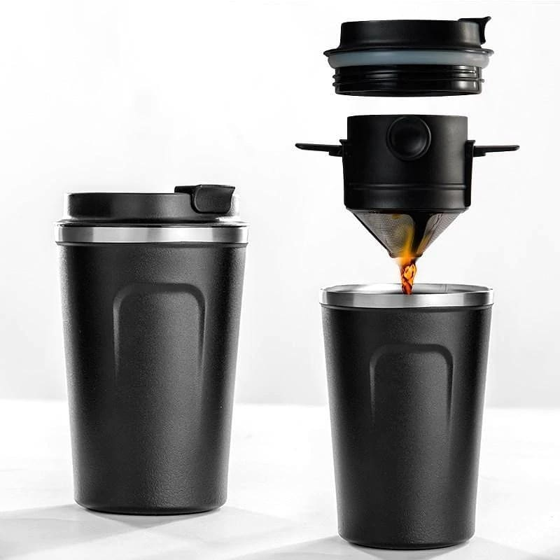 380ml stainless steel insulated coffee mug with foldable coffee filter