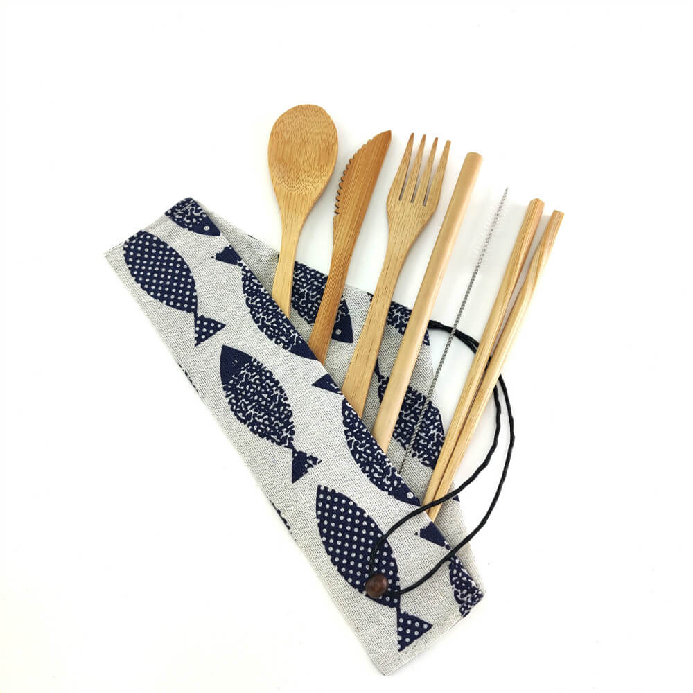 Natural bamboo utensil set with cloth carrying bag, type C