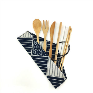 Natural bamboo utensil set with cloth carrying bag, type D