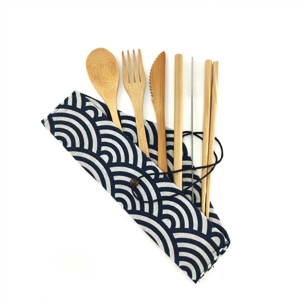 Natural bamboo utensil set with cloth carrying bag, type B