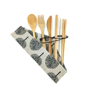 Natural bamboo utensil set with cloth carrying bag, type A