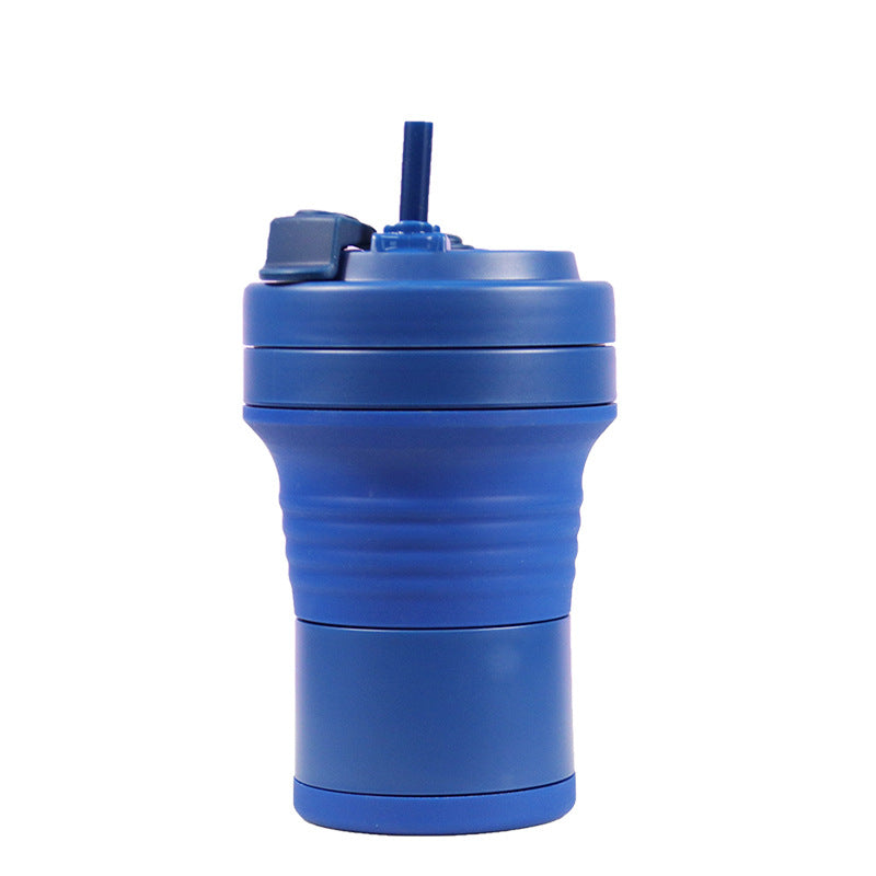 550ml foldable silicone coffee cup in dark blue