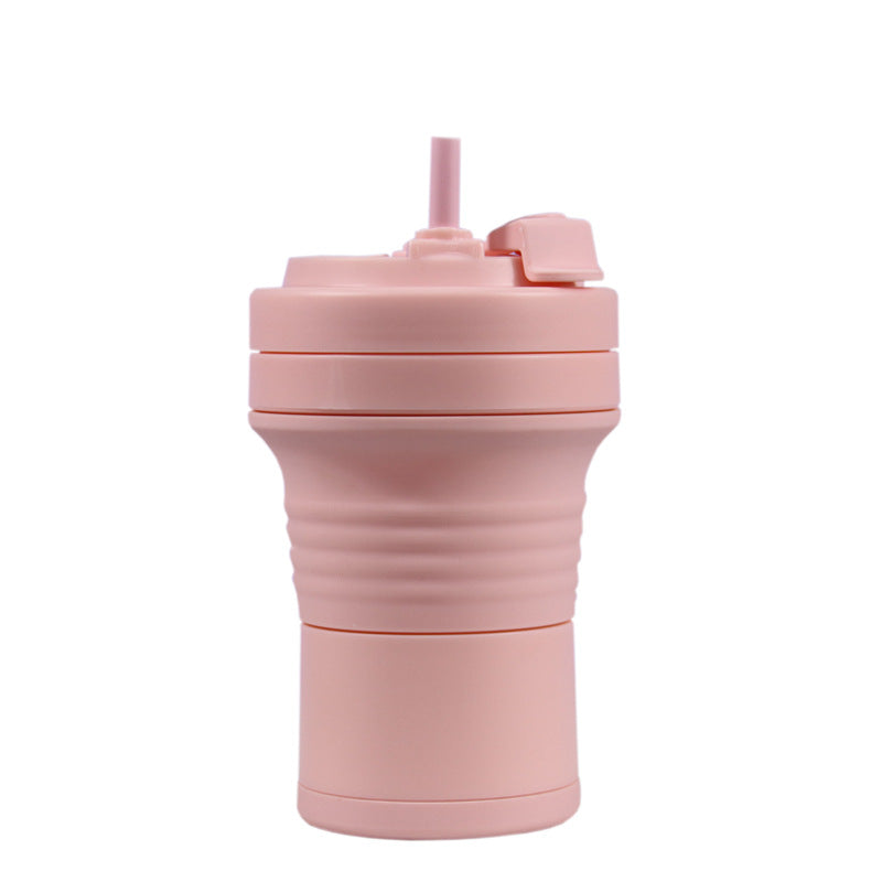 550ml foldable silicone coffee cup in pink