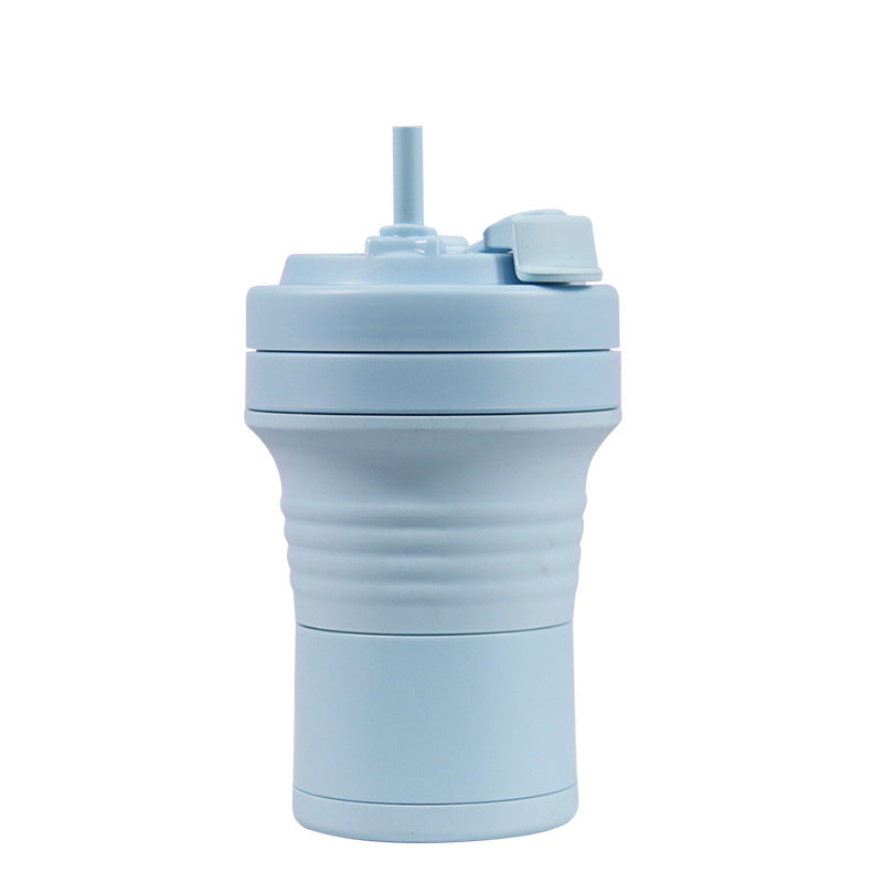 550ml foldable silicone coffee cup in sky blue